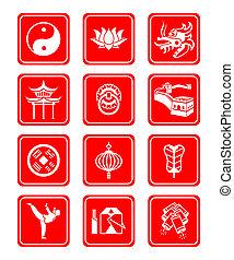 cultura, chinês, ícones
