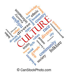 cultura, conceito, palavra, nuvem, angled