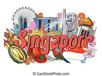 cultura, doodle, mostrando, cingapura, arquitetura