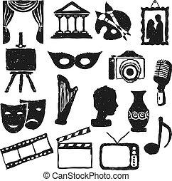 cultura, doodle, quadros