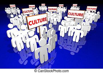 cultura, grupos, gente, diversidad, señales, palabras, 3d, animation.jpg