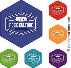 cultura, hexahedron, vettore, roccia, icone