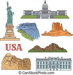 cultura, história, natureza, viagem, vistas, de, eua, ícone