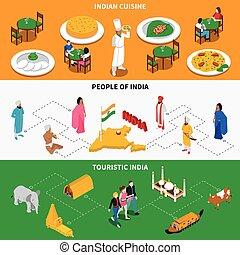 cultura indiana, turistico, isometrico, 2, bandiere