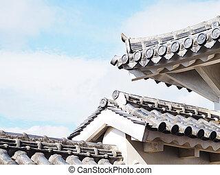 cultura, japonés, estilo, techo, castillo, himeji