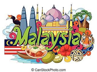 cultura, malasia, actuación, arquitectura, garabato