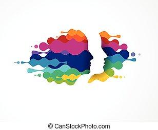 cultura, persone, icons., creativo, simboli, mente, disegno...