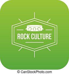 cultura, roccia, vettore, verde, icona