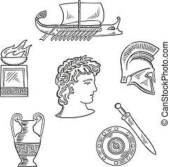 cultura, símbolos, de, grécia antiga