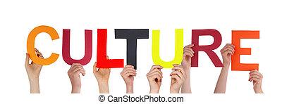 cultura, segurando, pessoas