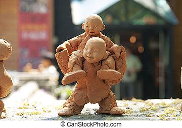 cultura, sul, tradicional, coréia, boneca