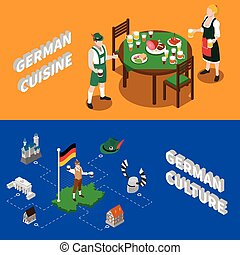 cultura tedesca, per, turisti, isometrico, bandiere