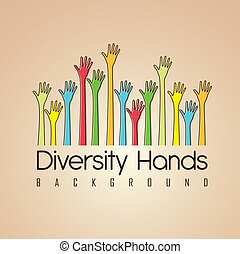 Cultural and ethnic diversity - hands of different colors. ...