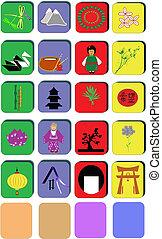 cultural, chino, iconos