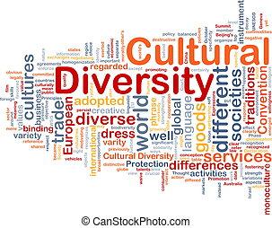 cultural, conceito, diversidade, wordcloud, ilustração