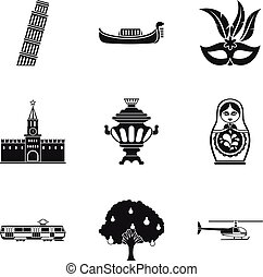 Cultural difference icons set, simple style
