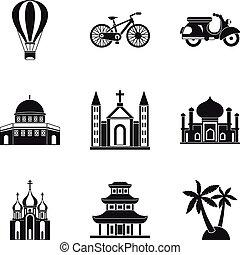 Cultural distinction icons set, simple style