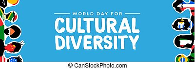 Cultural Diversity banner of country flag people