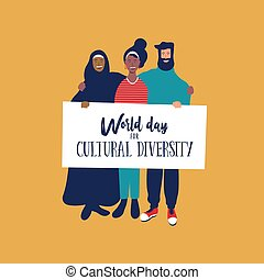 Cultural Diversity day card of diverse friends