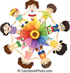 Cultural diversity - Kids holding hands around colourful ...