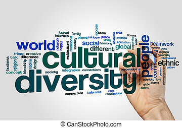 Cultural diversity word cloud concept on grey background.