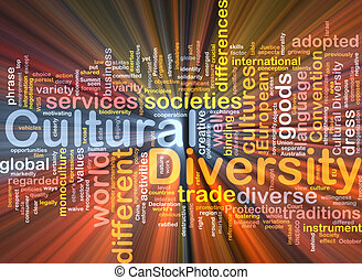 cultural diversity wordcloud concept illustration glowing - ...