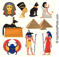 Cultural elements of ancient Egypt. Pharaoh and queen, sacred animals, Egyptian pyramids and people. Flat vector set