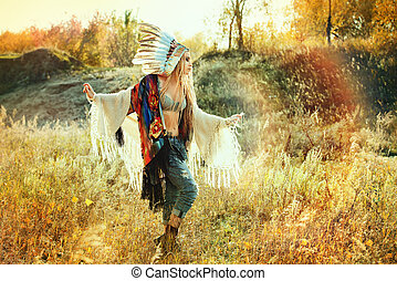 cultural heritage - Beautiful girl in style of the American...