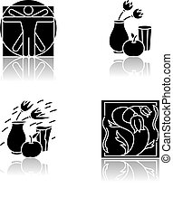 Cultural movements drop shadow black glyph icons set