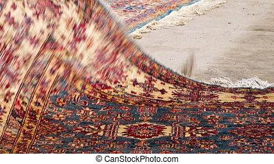 Cultural patterned carpet - A close up shot of a carpet full...