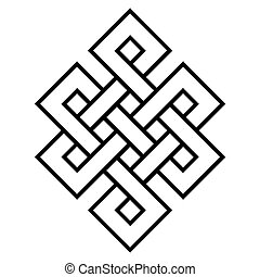 cultural symbol of buddhism endless knot, vector buddhist...