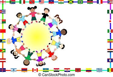 culturale, bambini, con, bandiere
