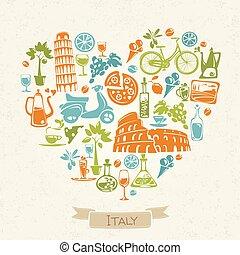 culture., amour, symboles, vecteur, conception, italie, italien