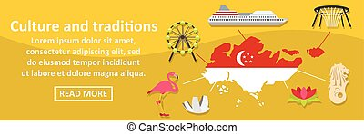 Culture and traditions singapore banner horizontal concept