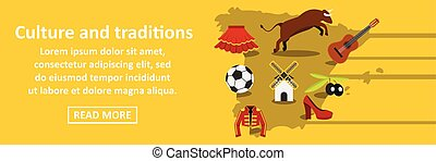 Culture and traditions spain banner horizontal concept