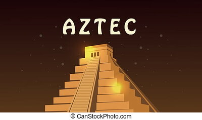 culture aztec pyramid and lettering animation ,4k video animated