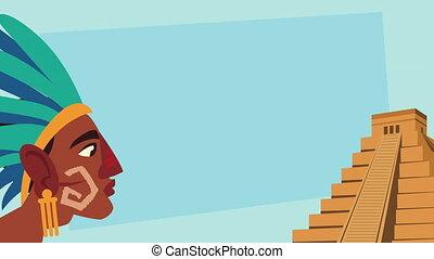 culture aztec pyramid and native profile scene animation ,4k video animated