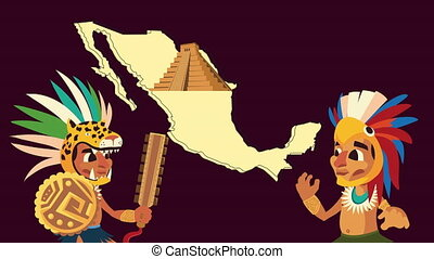 culture aztec pyramid and natives in mexican map animation ,4k video animated