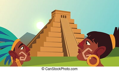 culture aztec pyramid and natives profiles scene animation ,4k video animated
