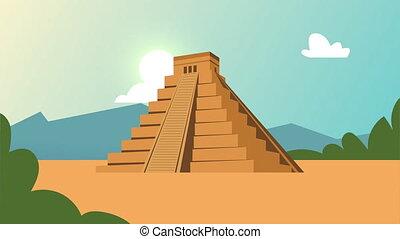 culture aztec pyramid scene animation ,4k video animated