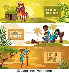 culture, bannières horizontales, ensemble, plat, africaine