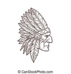 culture, chef, tatouage, indien, indigène, tête, croquis