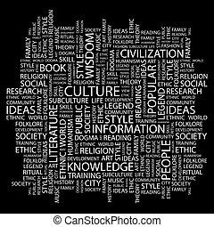CULTURE. Word cloud illustration. Tag cloud concept collage.