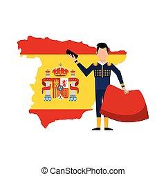 culture, espagnol, tauromachie, icône, classique