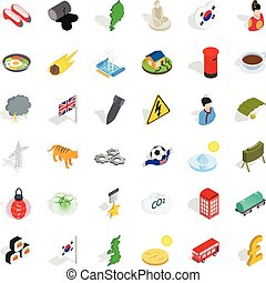 Culture icons set, isometric style