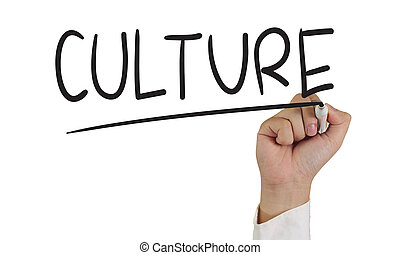 Culture - Image of a hand holding marker and write culture...