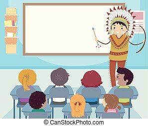 culture indienne, classe, stickman, gosses, planche