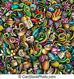 culture indienne, inde, doodles, main, dessiné, backgraund, seamless, pattern.