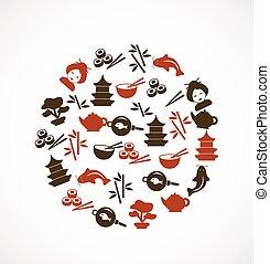 culture, japonaise, icônes