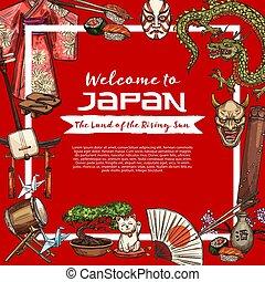 culture japonaise, tradition, objets, vecteur
